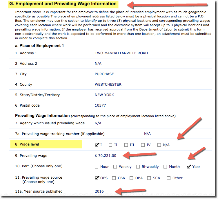 Prevailing Wage information Section G on LCA in iCERT Portal DOL