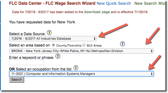 Select LCA Database, Title and Area for H1B