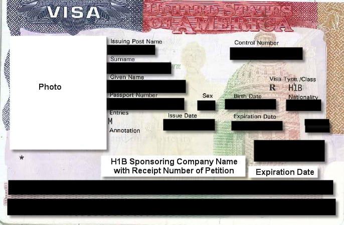 Sample H1B visa stamp
