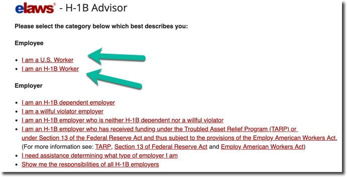 US Department of Labor - H1B rights Guidance