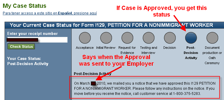 Check H1B visa application status approval status USCIS Approval Notice