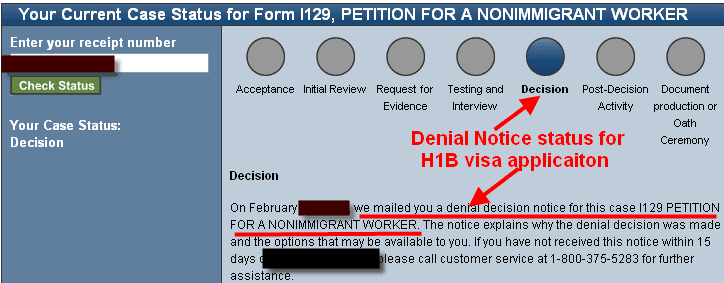 Denial Notice status of H1B visa petition filed USCIS