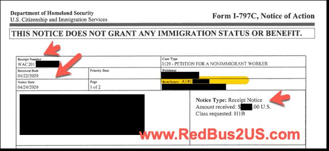 H1B Receipt Notice - Case Number Sample