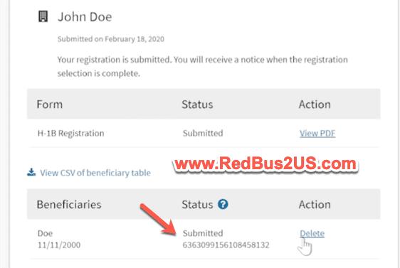H1B Registration Confirmation Number Status