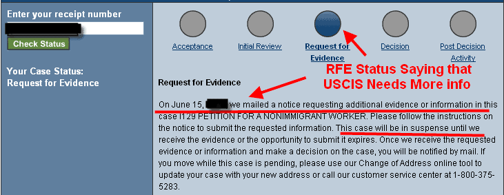 RFE by USCIS asking for more info H1B visa petition status on USCIS