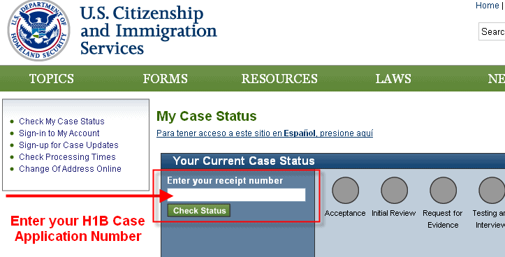 USCIS Check h1b application status