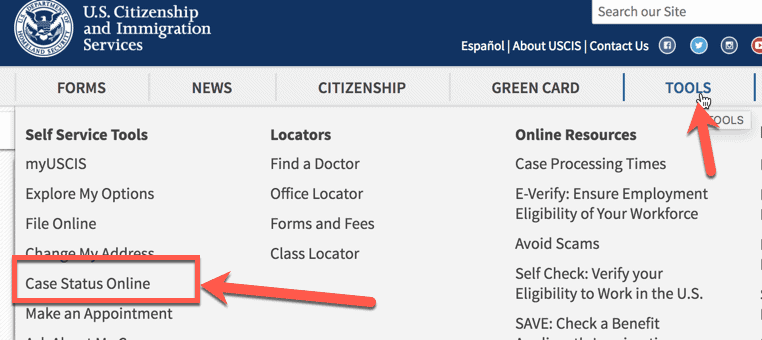 USCIS Website Case Status finding Navigation