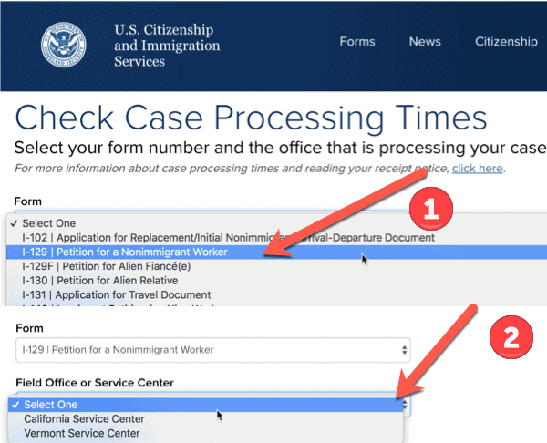 Select the Service Center and Form USCIS processing times