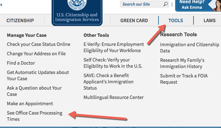 USCIS Office Case Processing Times
