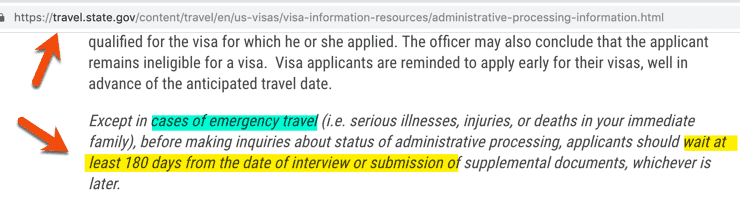 US Visa 221g Administrative Processing Time for inquiry