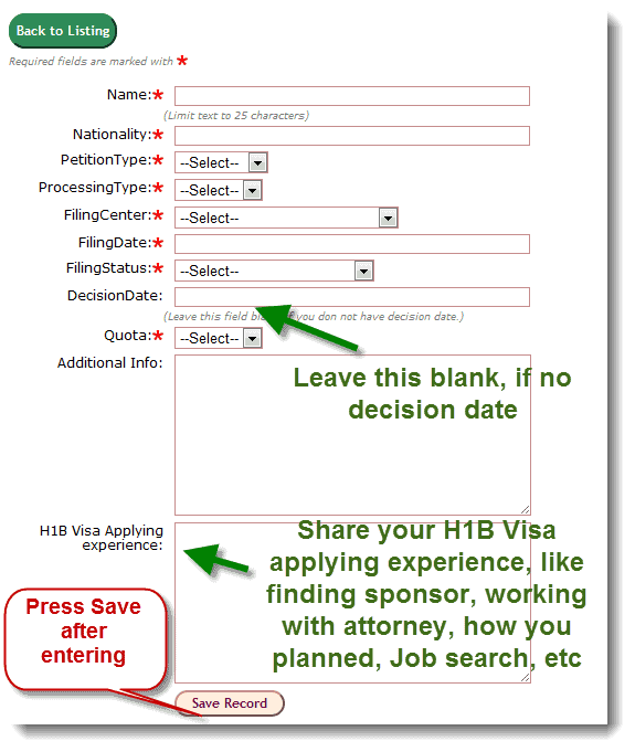 H1B Visa Tracker Form