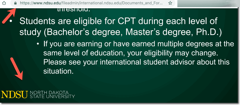 CPT Eligibility for Second Masters in USA - NDSU University Info