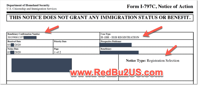 H1B Registration Confirmation Number - Sample Selection Notice