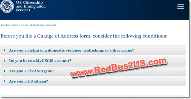 USCIS Notify Address Change AR 11 form