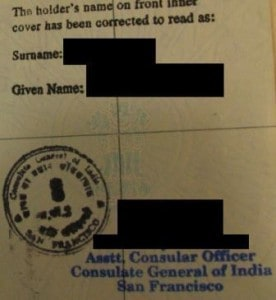surname blank in Indian passport corrected in USA