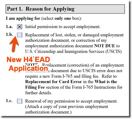 H4 EAD New Application i-765 - Question 1 - Reason for Applying