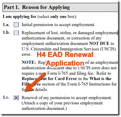 H4 EAD Renewal Application i-765 - Question 1 - Reason for Applying