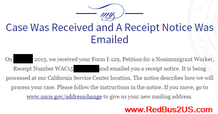 USCIS : Case Was Received and A receipt Notice Was Emailed Status