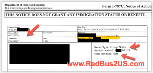 H1B I-797C Case Receipt Notice - Class Requested shows H1B