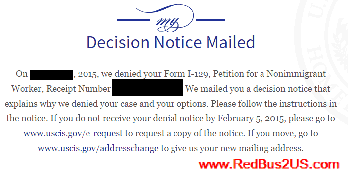 H1B Visa Denied Decision Notice Mailed
