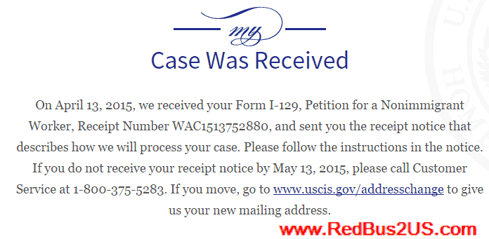 H1B Case Status - Case Was Received