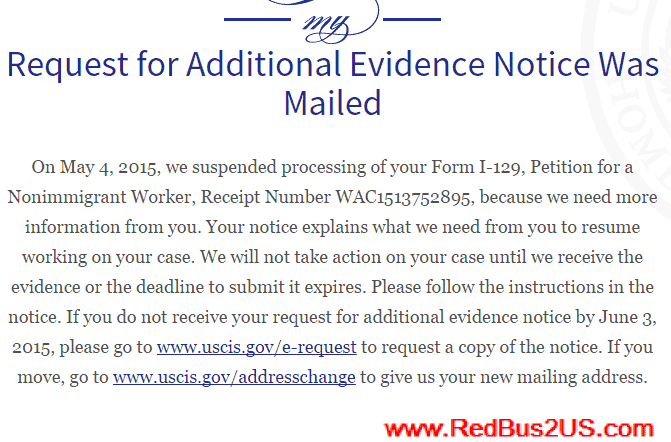 H1B Case Status - Request for Additional Evidence Notice Was Mailed
