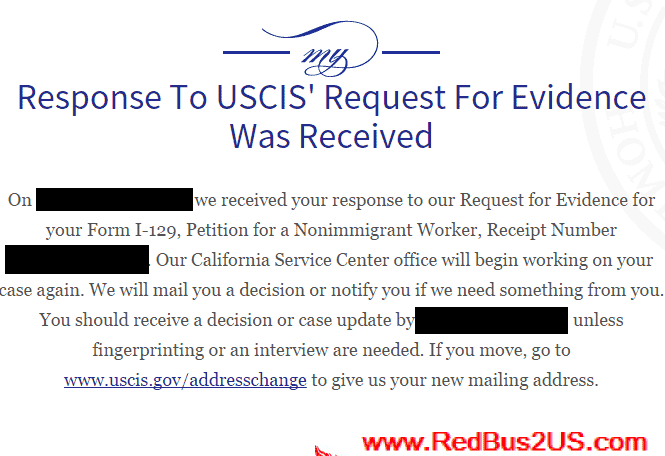 H1B Case Status - Response to USCIS Request for Evidence was Received