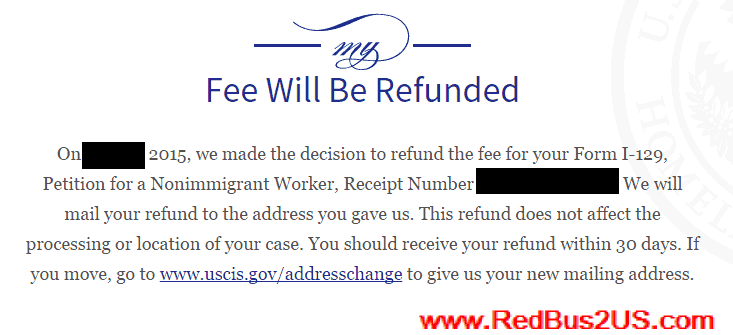 H1B Case Status - Fee will be Refunded