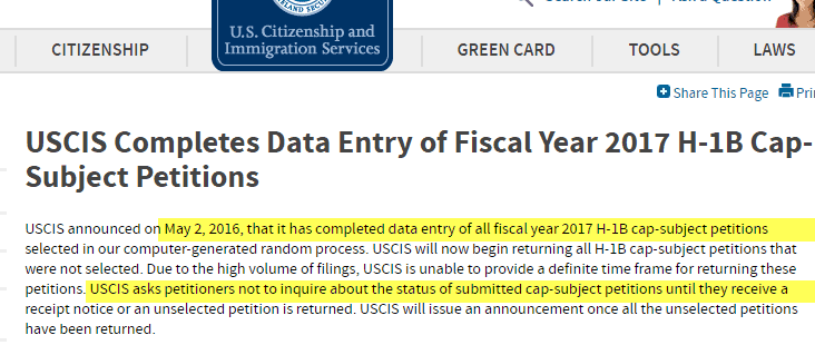 USCIS Data Entry Completed Note