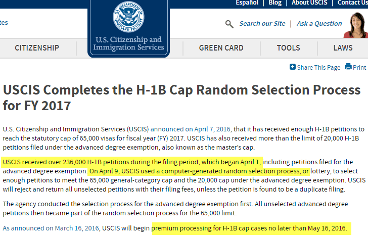 USCIS H1B Lottery Done On April 9th 2016