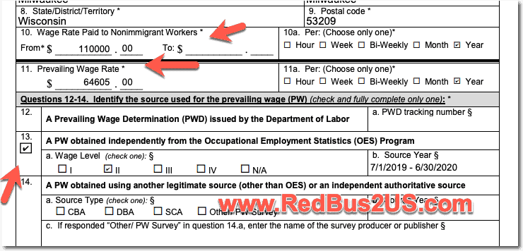 H1B LCA Prevailing Wage and Wage Rate Paid to Nonimmigrant Wokers info