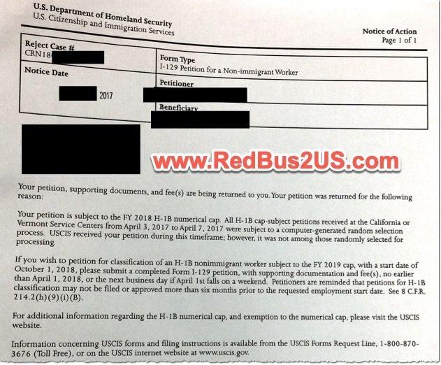 H1B Reject Notice California - WAC Sample