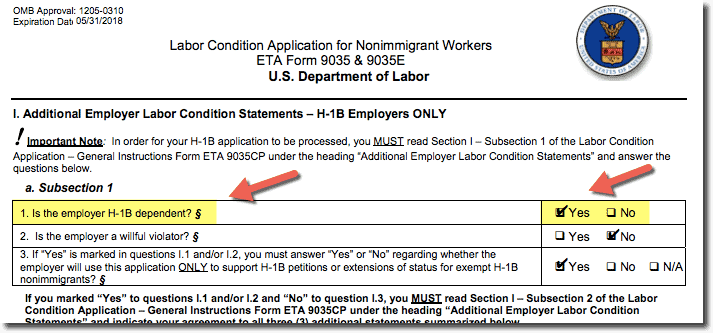 H1B Dependent Employer - Sample Screenshot