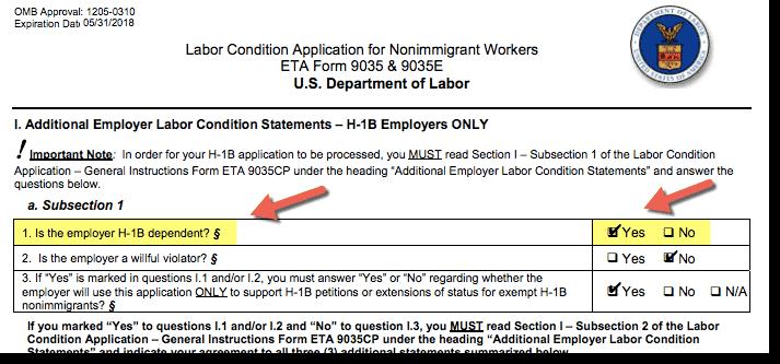 H1B Dependent Employer - Sample Screenshot