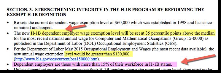 H1B Visa Dependent Employer on H1B 130K bill