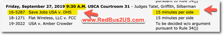 Court Argument Time and Date - Save Jobs USA - DHS