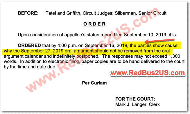 H4 Court Oral Argument Date Postpone Order Info Sep 2019