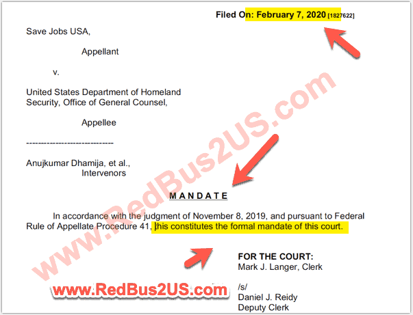 H4 EAD Court Case February - Formal Mandate by Appeals Court