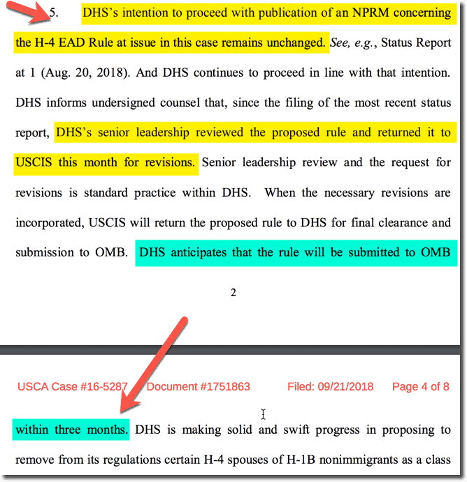 H4 EAD Updates(Sep 2019) Court Order for USCIS, OMB Review on