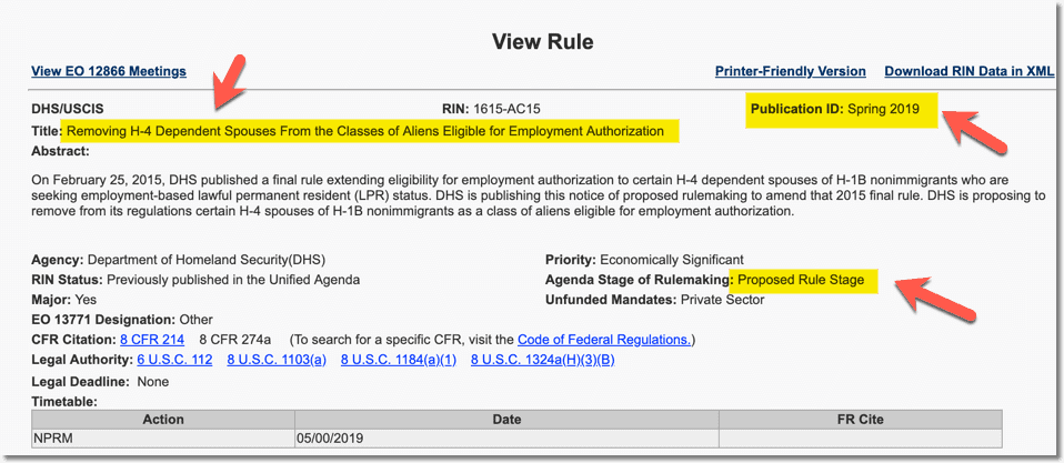 H4 EAD Rule Removal in Spring 2019 Agenda - May Update