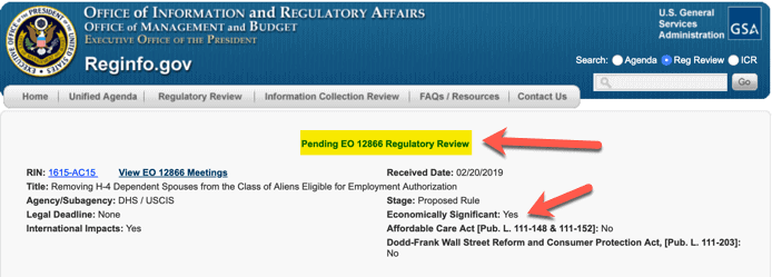 H4 EAD Rule Sent to for OMB to Review - February 2019