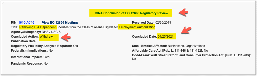 H4 EAD Rule removal OMB - OIRA withdrawn status - Jan 2021