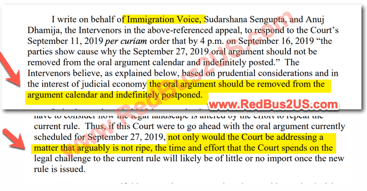 Intervenor - ImmigrationVoice Response to Court Order in September - 2019