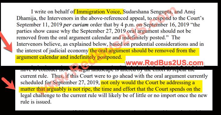 Intervenor - ImmigrationVoice Response to Court Order in September - 2019