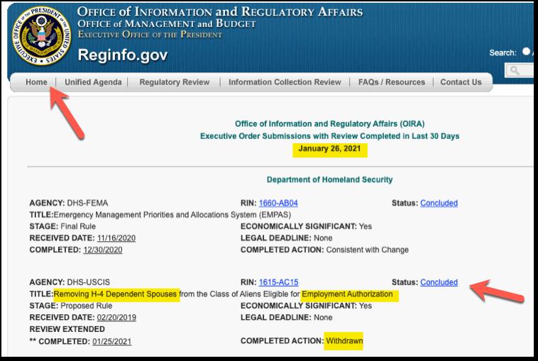 RegInfo - H4 EAD Revoke Rule Withdrawn - Jan 2021 Update