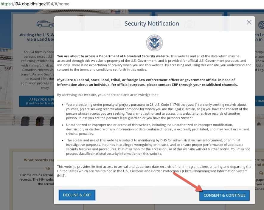 Security Notification CBP Website I94