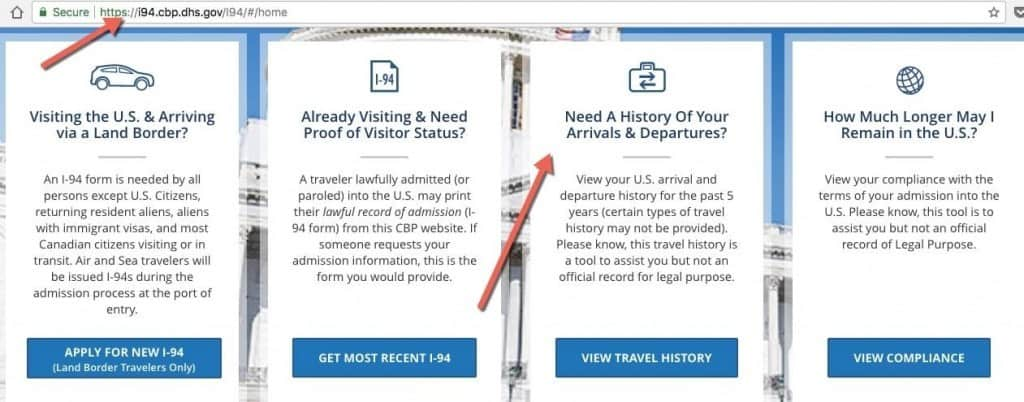 Selecting Travel History Option on I-94 Website