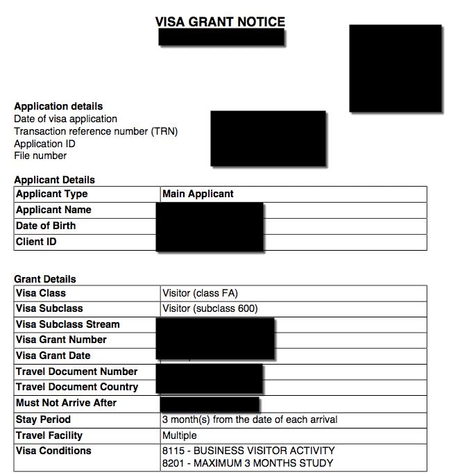 Australian Business Visa Grant Letter