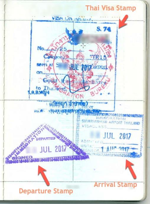 Thailand Visa on Arrival Sample Copy Specimen