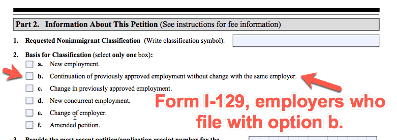 Option B - H1B Extension - I129 form
